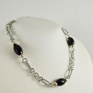 "David Yurman Sterling Silver 18K Yellow Gold 16"" Onyx Bijoux Figaro Necklace"