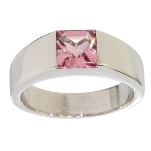 Cartier 18K White Gold Pink Tourmaline Tank Solitaire Ring Size 5.25