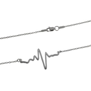Heartbeat Charm in 14k White Gold with Diamonds