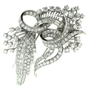 Platinum with 6.5ctw. Diamond Double Brooch