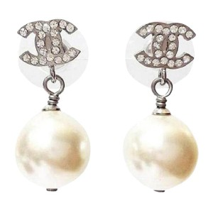 Chanel Silver Tone Metal CC Crystal Simulated Glass Pearl Dangle Piercing Earrings