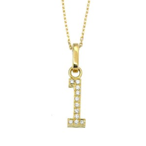 CORE JEWELS 18K Yellow Gold NUMERAL 1 Diamond Necklace