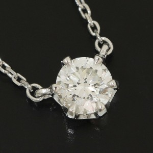 4℃ 850 Platinum 0.305ct Solitaire Diamond Pendant Necklace