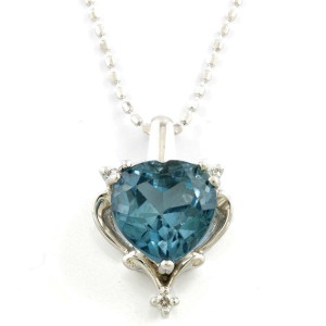 10K White Gold London Blue Topaz Necklace