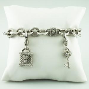 "Judith Ripka 925 Sterling Silver ""Key to my Heart"" with Smoky Quartz Charm Bracelet"