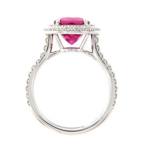 Tiffany & Co. Platinum Rubellite and Diamond Engagement Ring Size 6