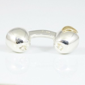 Hermes Sterling Silver 18K Yellow Gold Apple Men's Cufflinks CHAT-604