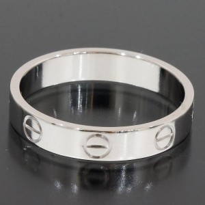Cartier Mini Love 18K White Gold Ring Size 6.75