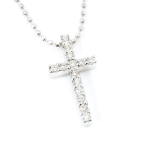 Vendome Aoyama 18K White Gold 0.12ct Diamond Cross Pendant Necklace CHAT-603