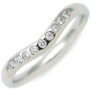Tiffany & Co. 9P Diamond & Platinum Curved Band Ring