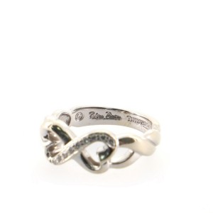 Tiffany & Co. Paloma Picasso Double Loving Heart Ring 18K White Gold with Diamonds