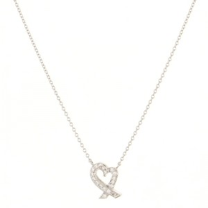 Tiffany & Co. Paloma Picasso Loving Heart Pendant Necklace Platinum with Diamonds