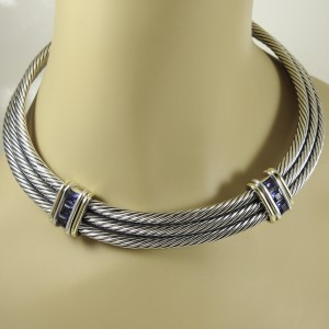 David Yurman Cable 14K Yellow Gold 925 Sterling Silver Iolite Necklace