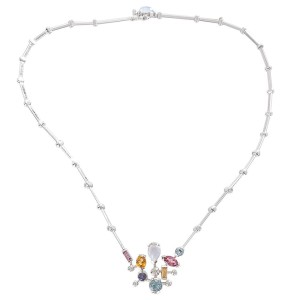 Cartier 18K White Gold with Multi Gemstone and Diamond Meli Melo Necklace