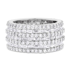 18k White Gold 5.16ct. Diamond Baguette & Round Wide Eternity Band Ring Size 7