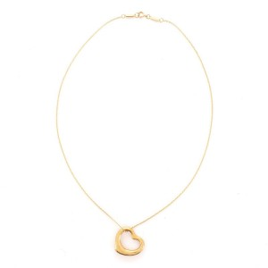 Tiffany & Co. Elsa Peretti Open Heart Pendant Necklace 18K Yellow Gold and Diamonds