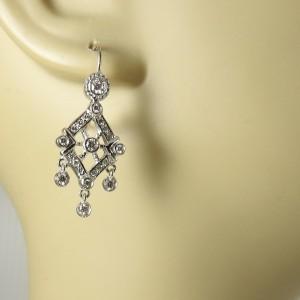 Doris Panos 18K White Gold 1.08tcw Small Anastasia Diamond Chandelier Earrings