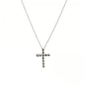 Tiffany & Co. Cross Pendant Necklace Platinum and Diamonds Small