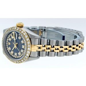 Rolex Datejust 79160 Blue String Diamond Dial Womens 26mm Watch