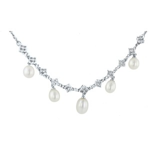 14K White Gold 1.52ct Diamond and Pearl Necklace and Earrings Set