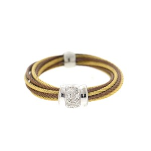 Alor 18K White Gold/Stainless steel & YLW & Bronze PVD cable RING