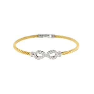 Alor 18K White Gold/Stainless steel With yellow PVD Bangle