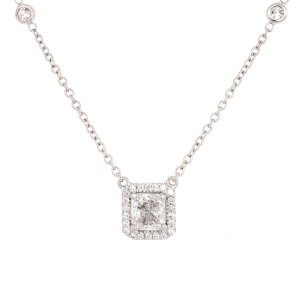 Diamond by the Yard Chain Necklace, Pendant with Radiant Diamond Halo