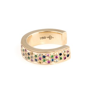 18K Yellow Gold Multicolored Sapphires Korali ~ Signature Insert Ring
