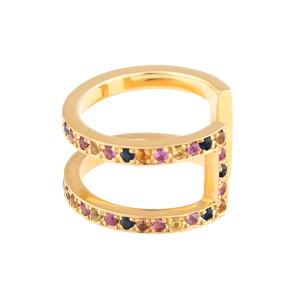 18K Yellow Gold Multicolored Sapphires Korali Ring