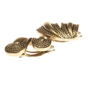 Oscar de la Renta Etched Rope Earrings