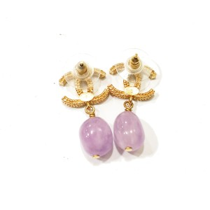 Chanel CC Gold Tone & Lavender Stone Dangle Piercing Earrings
