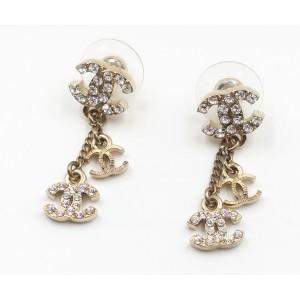 Chanel Gold-Tone Metal & Rhinestone Mini Dangle CC Earrings