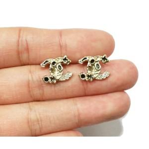 Chanel Gold Tone and Rhinestone CC Starfish Piercing Earrings