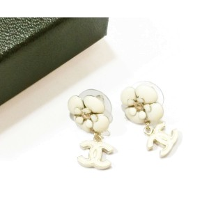 Chanel CC Ivory Camellia Dangle Piercing Earrings