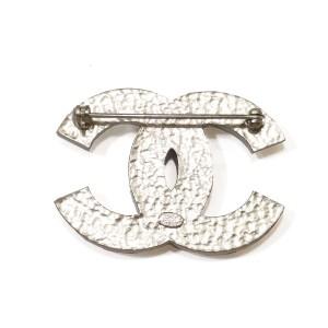 Chanel CC Silver & Rhinestone Brooch