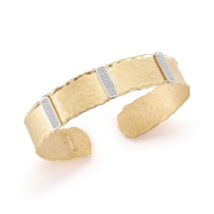 I.Reiss Matte And Hammered-Finish Narrow Cuff Bracelet