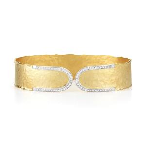 I.Reiss Matte And Hammer-Finish Narrow Cuff Bracelet