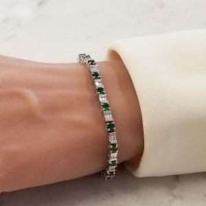 4.95 Carat Total Round Tsavorite and Baguette Diamond White Gold Bracelet