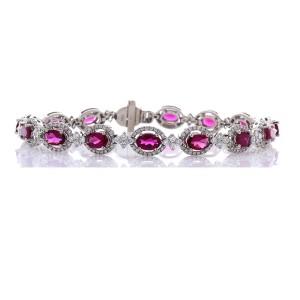 5.43 Carat Total Oval Rubelite and Diamond Bracelet in 18 Karat White Gold