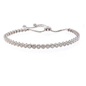 1.01 Carat Total Diamond Adjustable Bracelet in 14 Karat White Gold