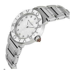 Bulgari Mother of Pearl Diamond Dial Stainless Steel Ladies 26mm Watch