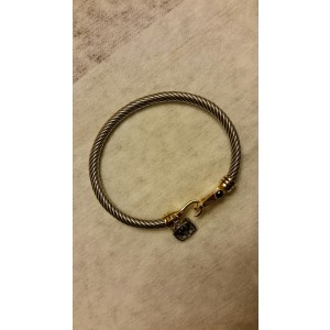 18K Gold With Black Spinel Bangle Cable Bracelet