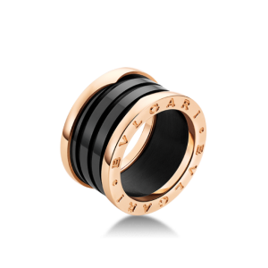 Bulgari B. Zero 1 18K Rose Gold and Black Ceramic 4 Band AN855563 Ring