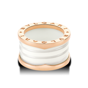 Bulgari B. Zero 1 18K Rose Gold & White Ceramic 4 Band Ring Size: 5.75