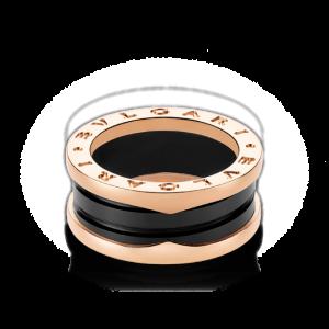 Bulgari B. Zero 1 18K Rose Gold & Black Ceramic Ring Size: 7