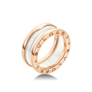 Bulgari B. Zero 1 18K Rose Gold & White Ceramic Ring Size: 5.75