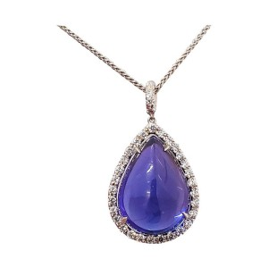 15.43 Carat Tanzanite and Diamond Pendant Necklace in 18 Karat White Gold