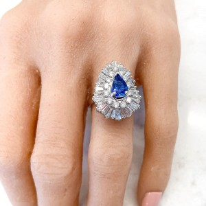 1.21 Carat Pear Shape Blue Sapphire and Diamond Cocktail Ring in Platinum