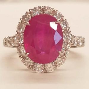 GIA Certified 5.17 Carat Oval Burma Ruby and Diamond Ring in 18 Karat White Gold