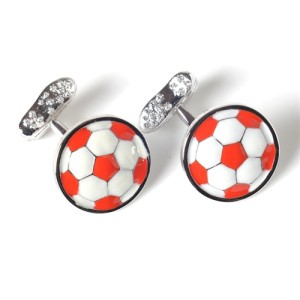 Tateossian Rhodium White & Red Enamel Cufflinks